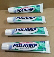 Lot Of 4 Super Poligrip Denture Adhesive Cream 2.4oz Tubes Zinc Free NEW NO BOX