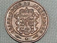 Luxembourg Grand Duchy Copper 1901 U Utrecht 2 1/2 Centimes Adolphe Coat Arms