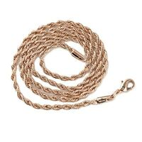 """Men's/Women's Necklace 18k Rose Gold Filled 4mm Rope Chain 20"""" Fashion Jewelry"""