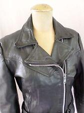 LEATHER MOTORCYCLE true vintage 80s cropped biker jacket 10