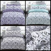 Painted Damask Reversible Duvet Quilt Cover Bedding Set Pillowcases All Size