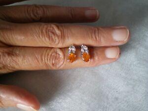Mandarin Garnet & Zircon stud earrings, 2.39 carats, 1.95 grams 925 Sterling Sil