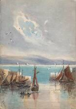 OLD HARBOUR PAIGNTON DEVON Watercolour Painting E SOUTHEY 1918 IMPRESSIONIST