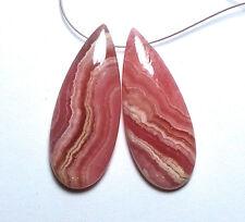 2 pcs PINK RHODOCHROSITE 36mm Teardrop Earring Beads AAA NATURAL /T6