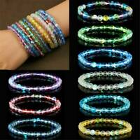 6mm Women Elastic Natural Moonstone Gemstone Bracelet Frosted Beaded Bangle Gift
