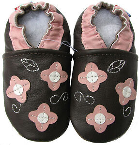 carozoo pink flower leaf brown 3-4y new soft sole leather toddler shoes