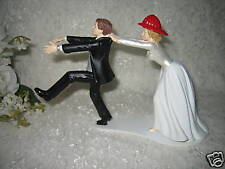 Wedding Party Reception ~Firewoman Firefighter~ Cake Topper Running Groom Funny