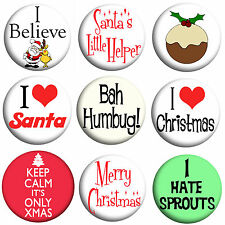 Set of 9 Christmas Badges, Xmas, 25mm Pin badges, Stocking Fillers, Gift Party