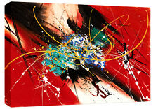 "Tela astratto rosso MIX COLORI Wall Art foto 30""x20"" 3cm TELAIO Rdy 2 Hang"