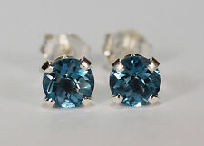 BEENJEWELED GENUINE NATURAL MINED DEEP SKY BLUE TOPAZ EARRINGS~STERLG SILVER~5MM