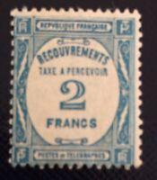 France Taxe N° 61 2 F Bleu  Neuf ** TB Qualité Cote260€