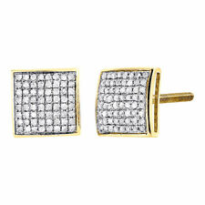 Diamond Square Domed Studs 10K Yellow Gold Round Pave Fashion Earrings 0.30 Tcw.
