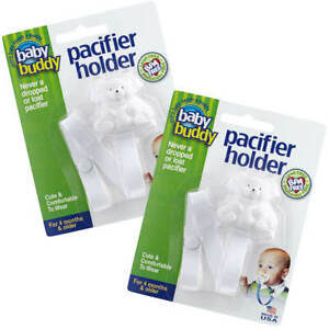 Baby Buddy Bear Pacifier Holder Nipple Strap Clips Baby Shirt Snaps to Paci
