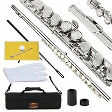 Glory Closed Hole C Flute With Case Kit Professional Musician Instruments Silver