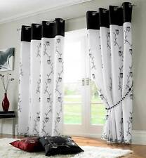 TAHITI BLACK & WHITE LINED VOILE RING TOP EYELET CURTAINS ~ Many Sizes