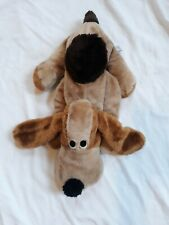 """Vintage Wallace Berrie Brown Puppy Dog Stuffed Plush Animal Toy Lovey Tongue 18"""""""