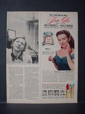 1951 Jeanne Crain Tru-Glo Make Up Lipstick Vintage Ad 11482