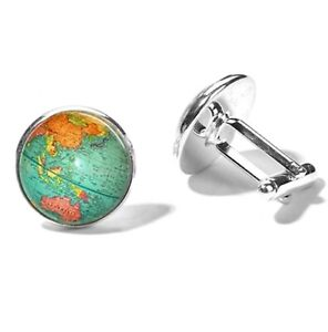 High Quality Unisex Vintage Earth Glass Dome Metal Cufflinks Gift