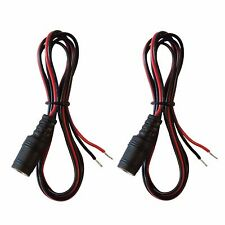 2 pack 3ft 12V 9V 2.1mm x 5.5mm DC female jack to open bare wire Adapter Cables