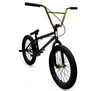 "Elite BMX 20"" Destro Bicycle Freestyle Bike 3 Piece Crank Black Gold 2021"