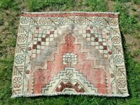 Turkish Handmade Nomadic Hand Knotted Distressed Oriental Wool Carpet Rug 2x3ft.