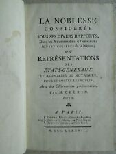 CHERIN : LA NOBLESSE considérée, 1788. Exemplaire du baron WALCKENAER.