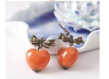 Orange Ceramic Heart Shaped Bead Dangle Earrings