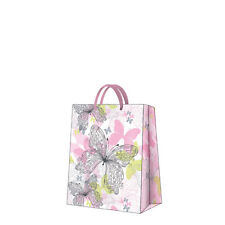Printed Paper Gift Present Bag Premium BUTTERFLY MEADOW Green Pink Cute Medium