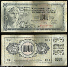 "RARE 1981 ""YUGOSLAVIA BANK NOTE"" CURRENCY ""1000 DINARA"" P# 92"