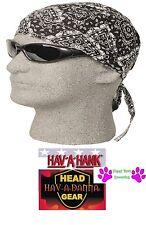 Hav-A-Hank Black PAISLEY FITTED Tied Bandana Skull CAP WRAP DOO Do RAG Head Wrap