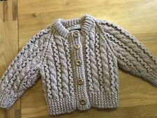 Handknit Cable Cardi Fawn.  3-6 Mnths? New