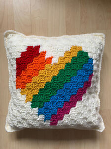 Handmade Hand Knitted Heart Decorative Cream Cushion Double Sided