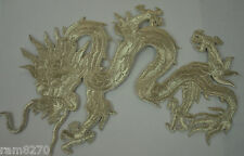 SILVER CHINESE DRAGON 18cm 7' EMBROIDERED CLOTH SEW IRON ON PATCH BADGE JACKET