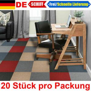 20 Stück Teppichfliesen Teppichboden 50x50 cm Selbstklebend Bodenbelag Nadelfilz