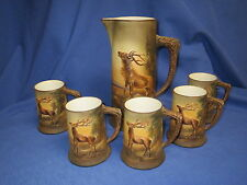 Antique Hand Painted Nippon Stag Deer Figure Tankard & Mugs with Antler Handles