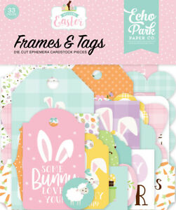 1 Pack of Echo Park Paper WELCOME EASTER Frames & Tags Ephemera Pieces