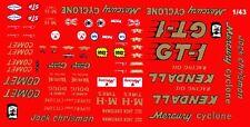 JACK CHRISMAN KENDALL GT-1 Mercury NHRA DRAG 1/43rd Scale Slot Car  Decals