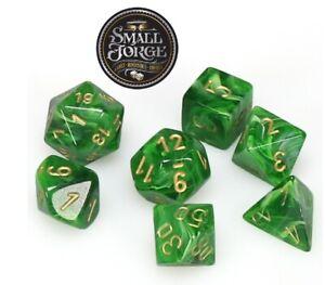 Chessex CHX27435 Vortex Green & Gold, 7-Die D&D Set & Box - NEW