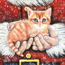 Modern Russian Postcard Christmas New Year Santa Claus Cat Kitten Kitty Puss Art