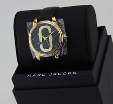 NEW AUTHENTIC MARC JACOBS CORIE GOLD BLACK LEATHER LADIES WOMEN'S MJ1578 WATCH