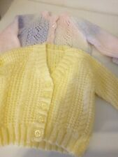 """2 hand knitted baby cardigans 18"""" chest"""