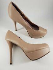 Next size 7 (41) nude / dusky pink faux leather platform stiletto court shoes