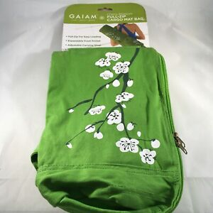 GAIAM Full-Zip Cargo Mat Yoga Bag Green Cherry Blossom
