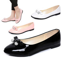 Women Pointed Toe Ballet Dress Flat Shoes Rhinestone Leather Candy Color Loafers
