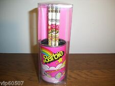 EXTRA RARE VINTAGE BARBIE 1982 METAL PENCIL CAN WITH 6-PENCILS, BY:LEADWORKS-NEW