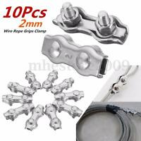 10 Pcs TAINLESS STEEL WIRE CABLE ROPE DUPLEX WIRE ROPE GRIPS CLAMPS CALIPER