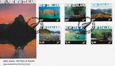New Zealand 2001 Tourism 100 Years Nature Scenes FDC
