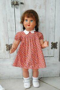 poupée ancienne Fredva France breveté SGDV 62cm plastique dur perruque
