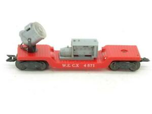 Marx Trains 4571 W.E.C.X. Red Depressed Center Operating Seatchlight Car Works