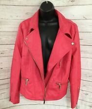 MS Mode Women's Pink Zip Up Faux Leather Motorcycle Jacket Size 52
